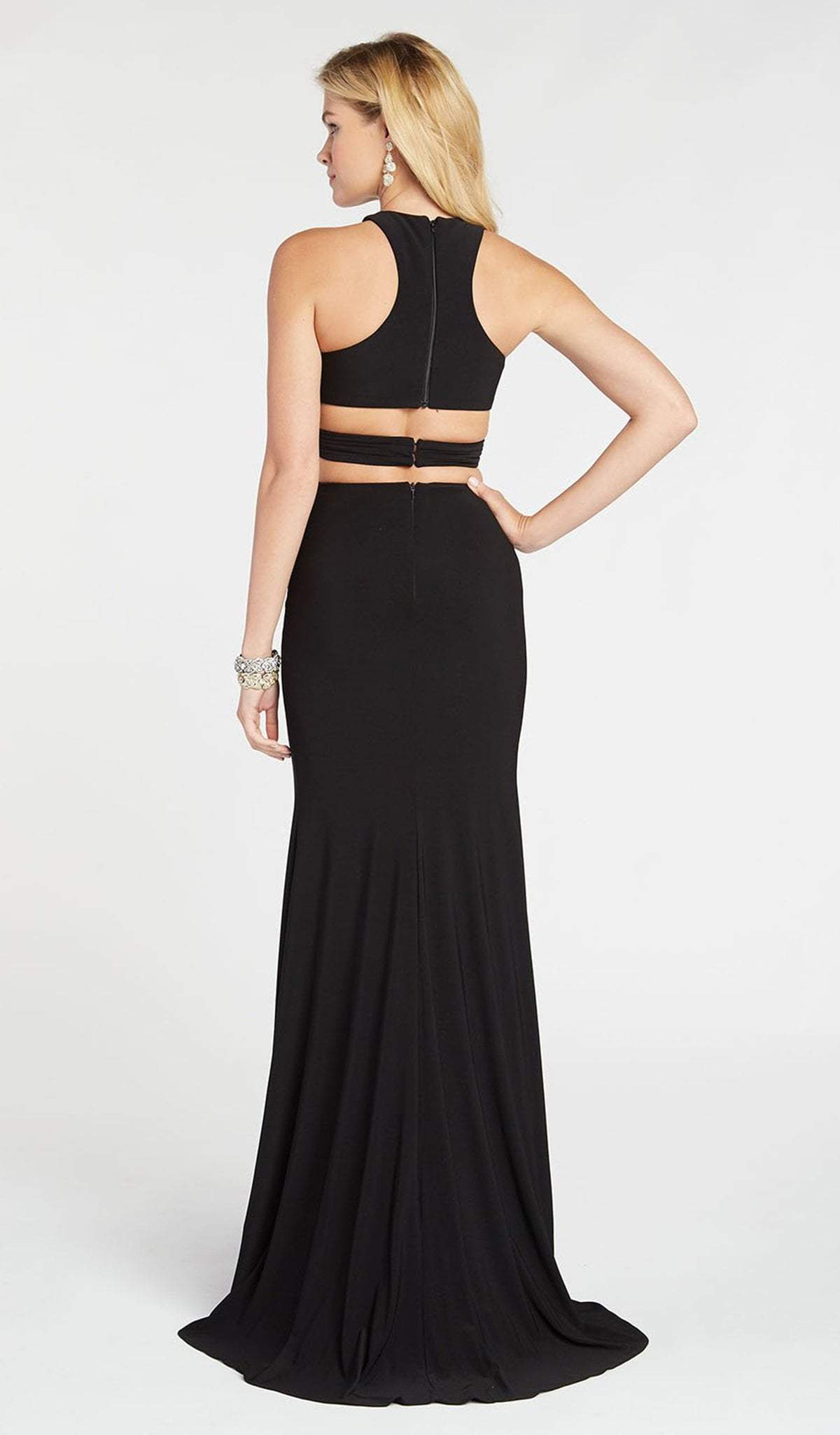 Alyce Paris - 60284 Two Piece Halter Top Sheath Evening Dress with Slit In Black