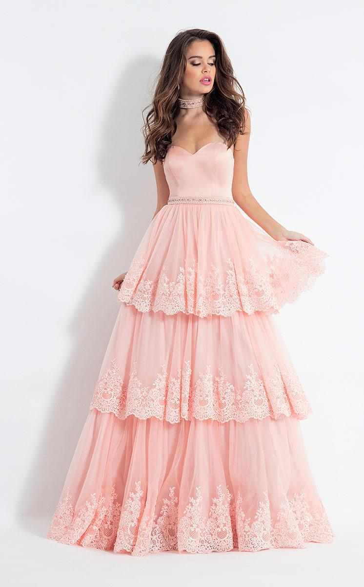 Rachel Allan - 6029 Lace Appliqued Strapless Gown in Pink