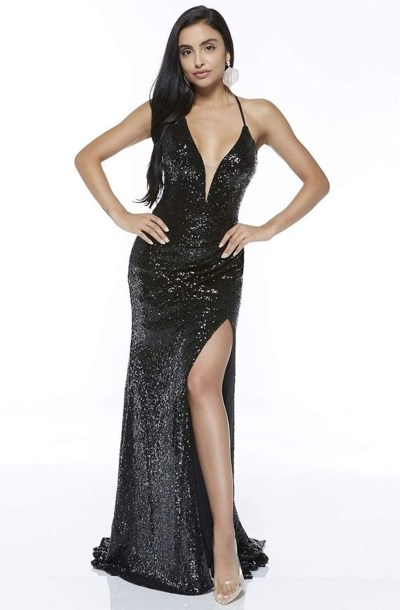 Alyce Paris - 60304 Sequined Deep V-neck Trumpet Dress Evening Dresses