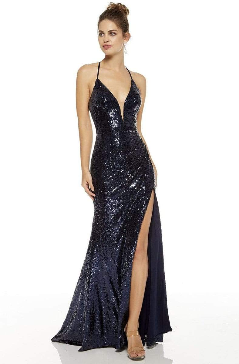 Alyce Paris - 60304SC Spaghetti Strap Glittery Slit Evening Gown