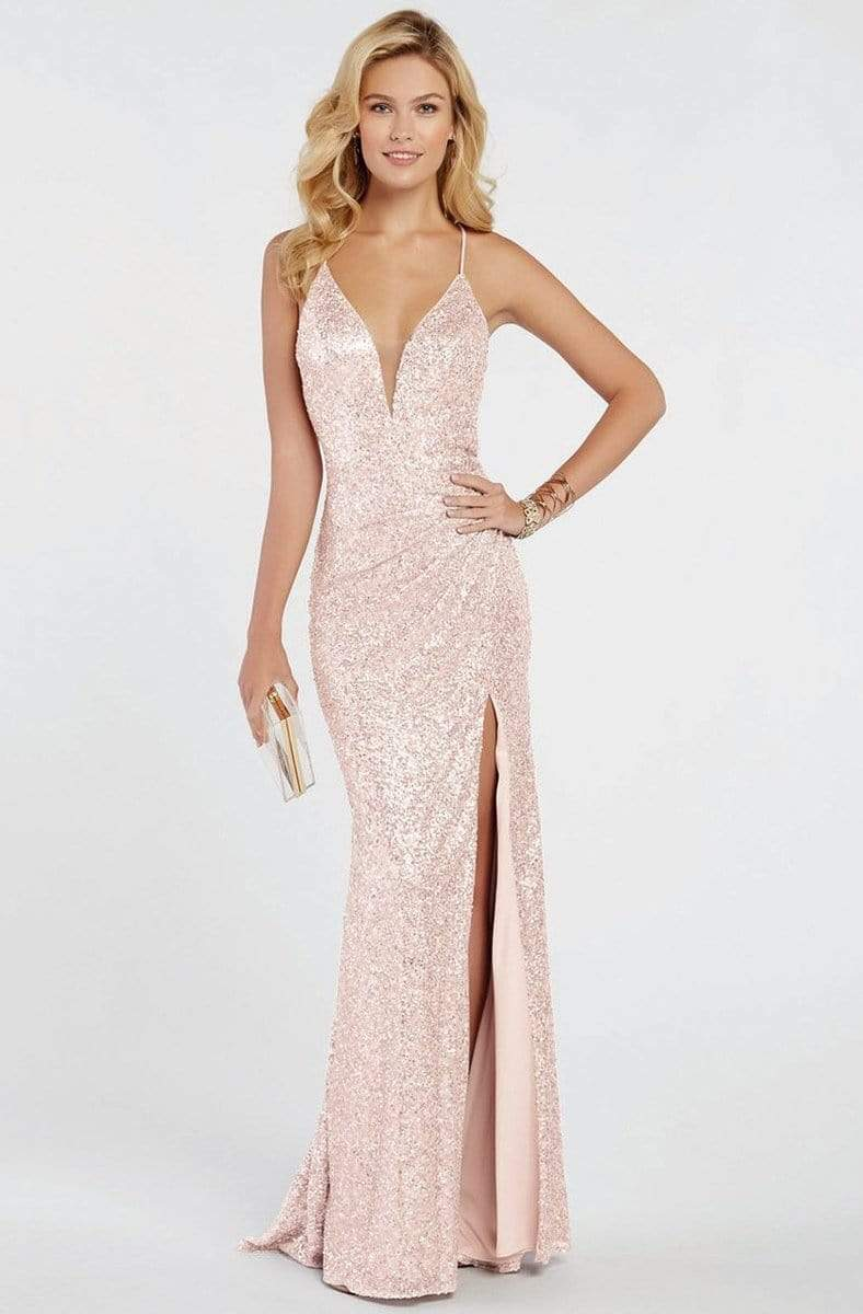 Alyce Paris - 60304 Sequined Deep V-neck Trumpet Dress Evening Dresses 000 / Rose Gold