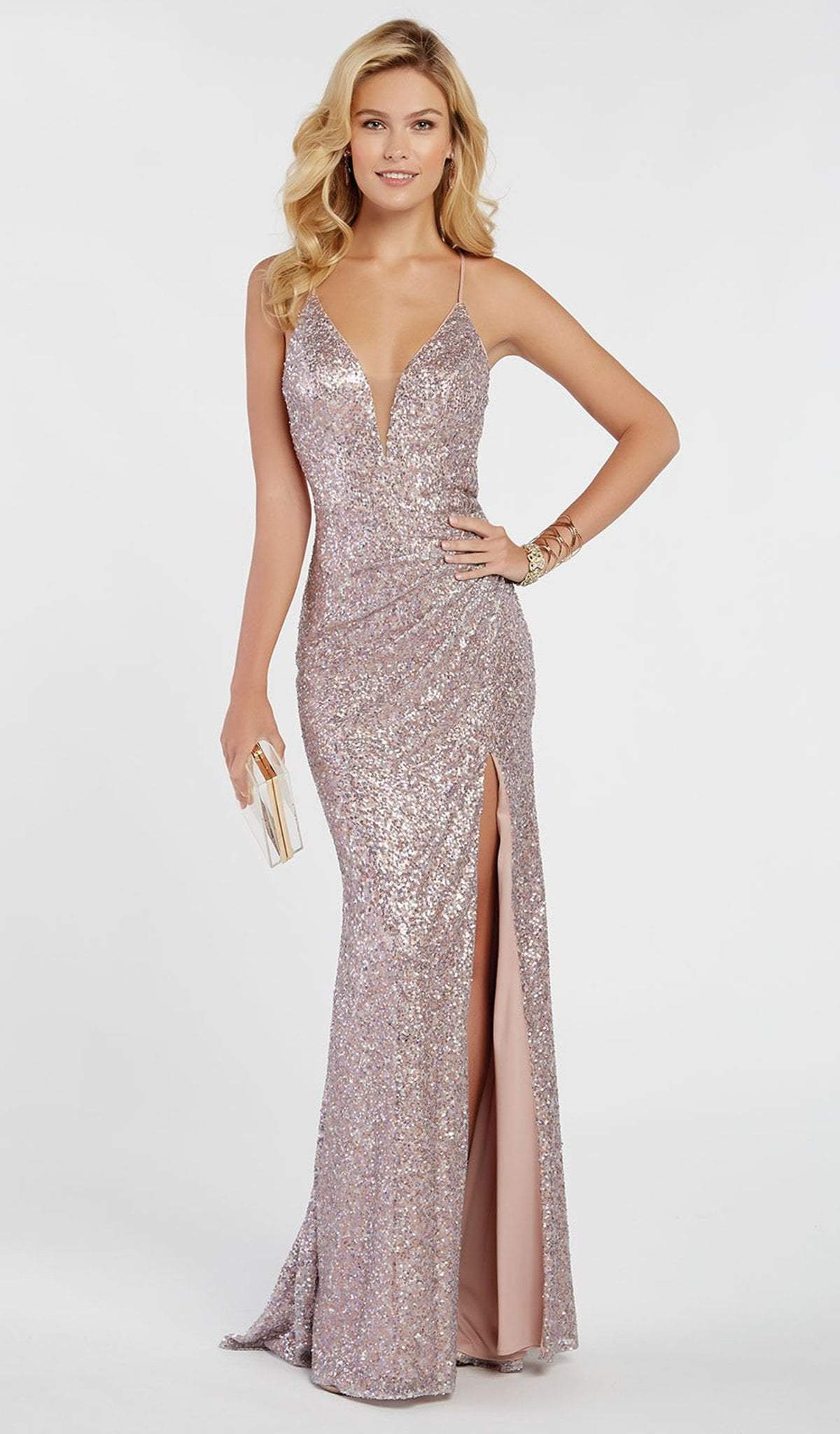 Alyce Paris - 60304 Sequined Deep V-neck Trumpet Dress In Pink