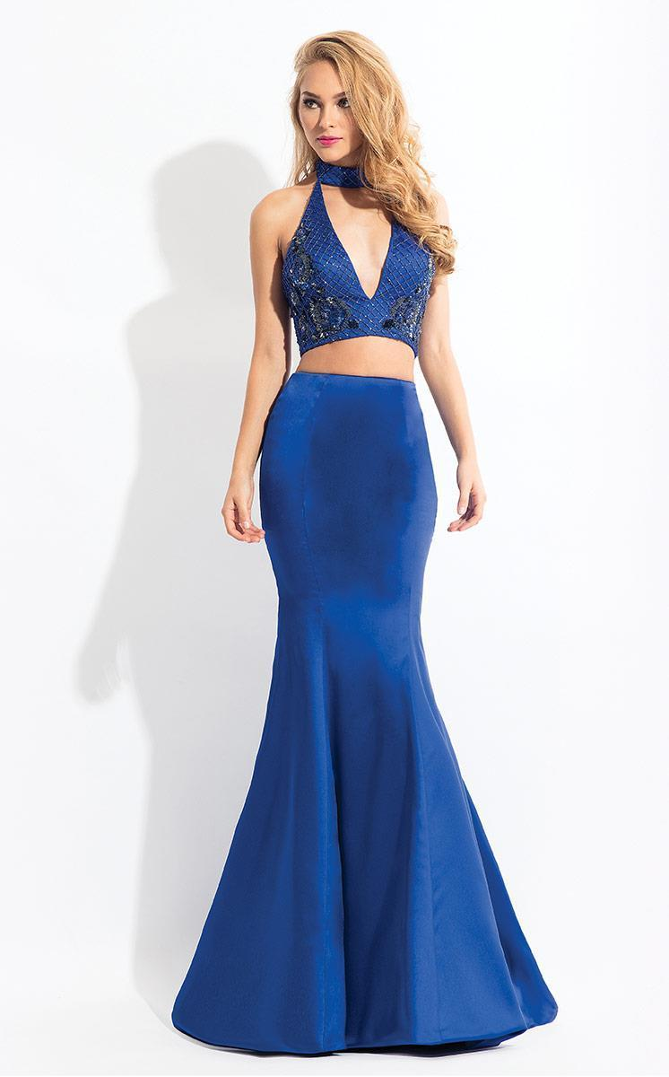 Rachel Allan - 6030 Sleeveless High Halter Mermaid Dress in Blue