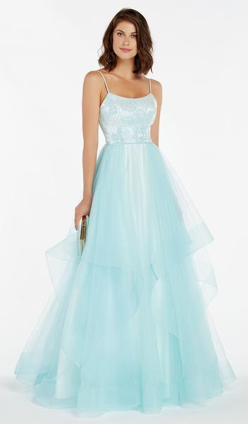 Alyce Paris - Sleeveless Scoop Neck Jacquard Ballgown 60359 In Blue
