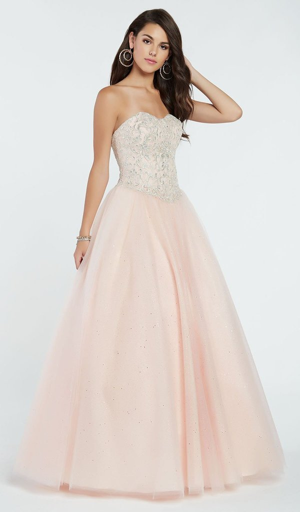 Alyce Paris - 60362 Strapless Beaded Lace Corset Top Tulle Gown In Pink