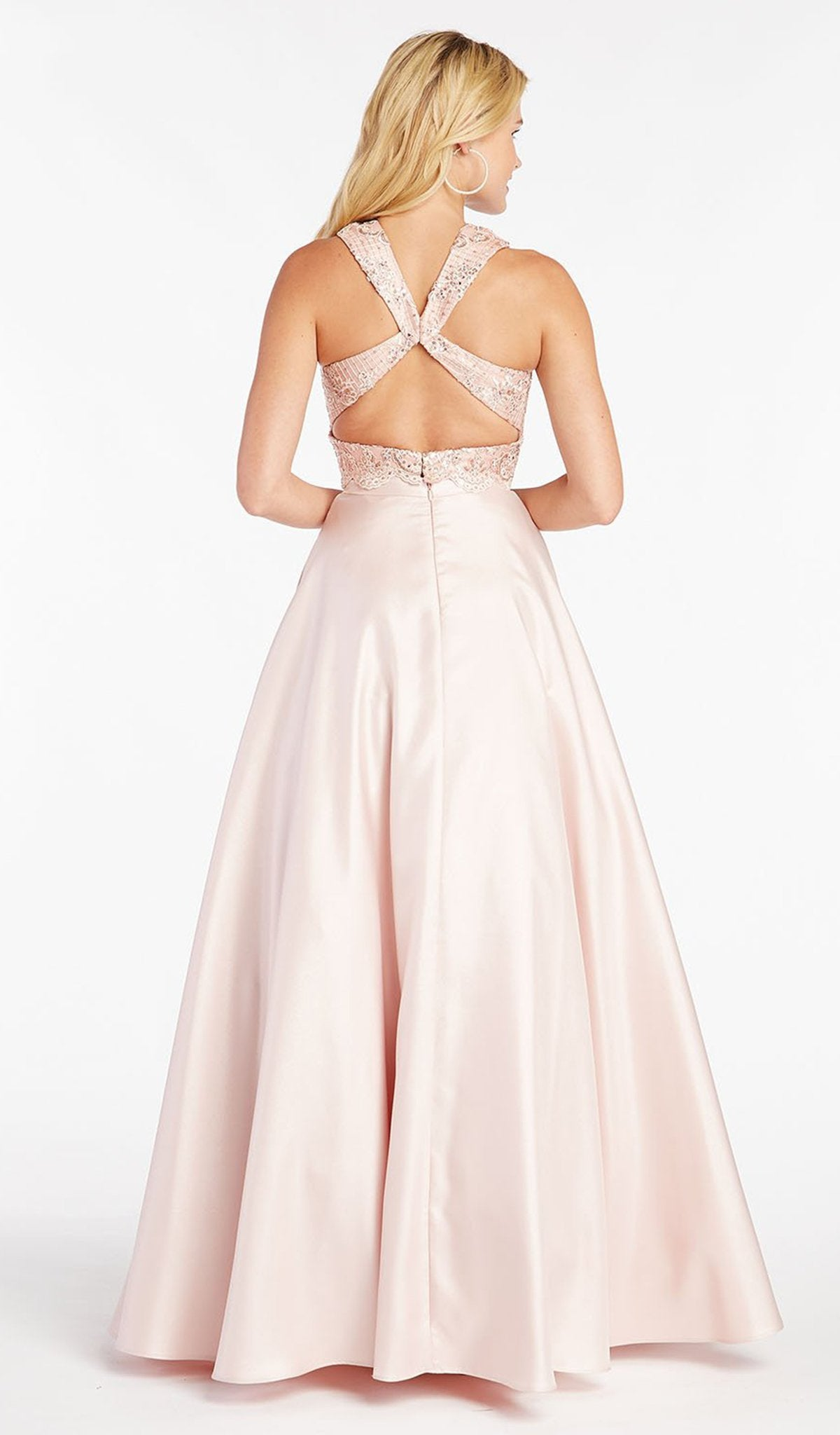 Alyce Paris - 60371 Shimmer Mikado Folded High Collar A-Line Gown In Pink