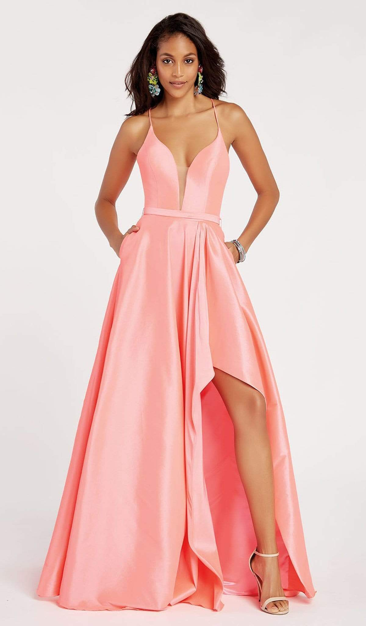 Alyce Paris - 60394 Illusion Plunging Neck High-Low Taffeta Prom Dress Special Occasion Dress 00 / New Coral