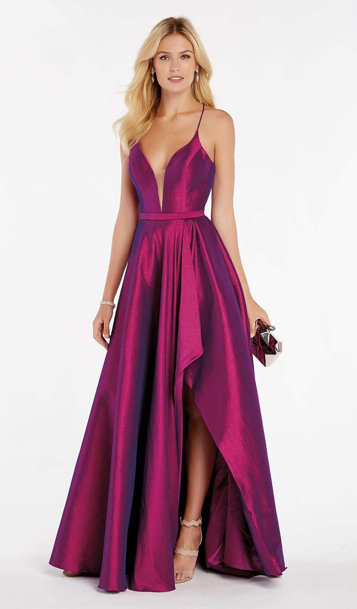 Alyce Paris - 60394 Illusion Plunging Neck High-Low Taffeta Prom Dress Special Occasion Dress 00 / Purple