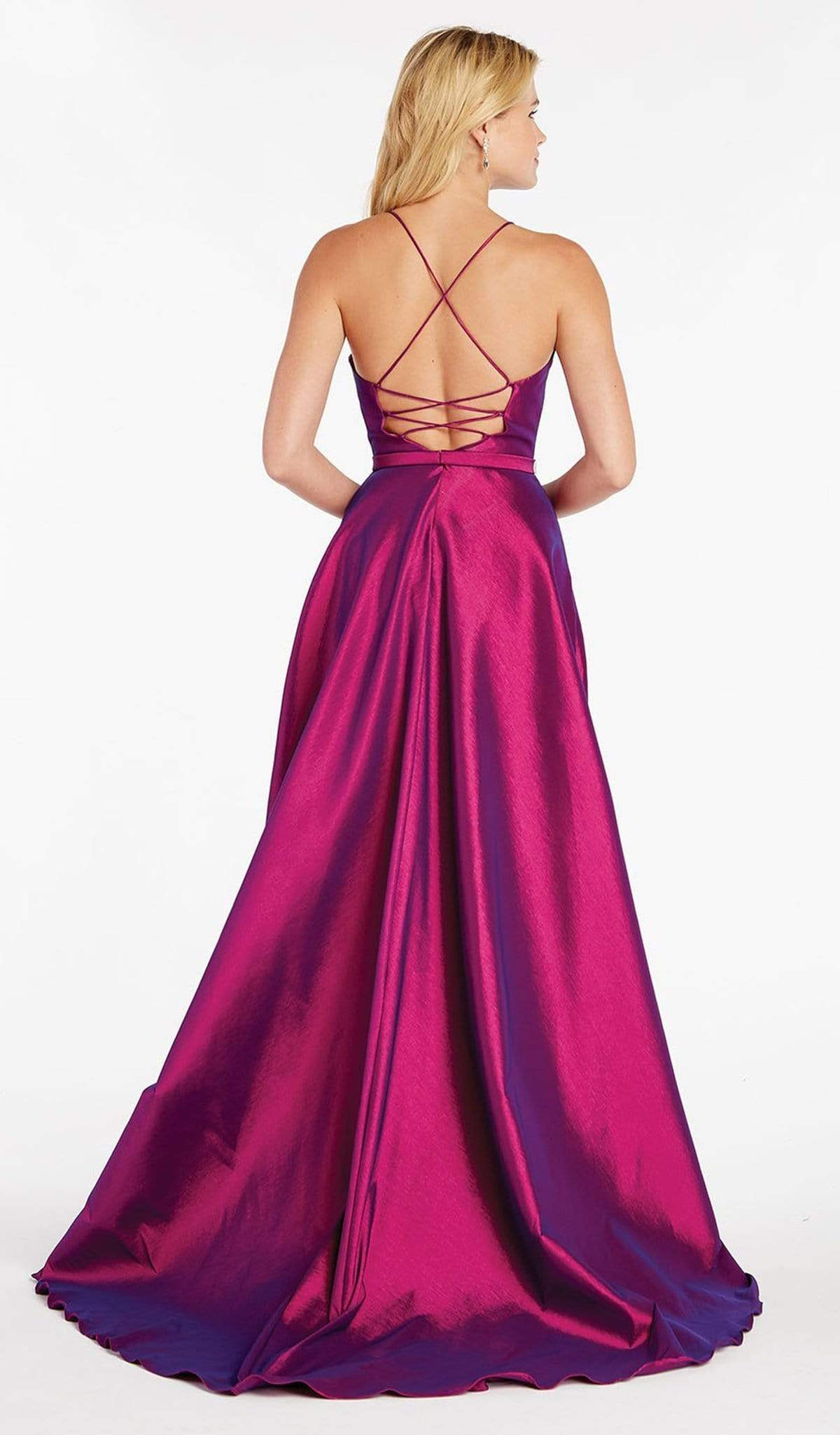 Alyce Paris - 60394 Illusion Plunging Neck High-Low Taffeta Prom Dress Special Occasion Dress