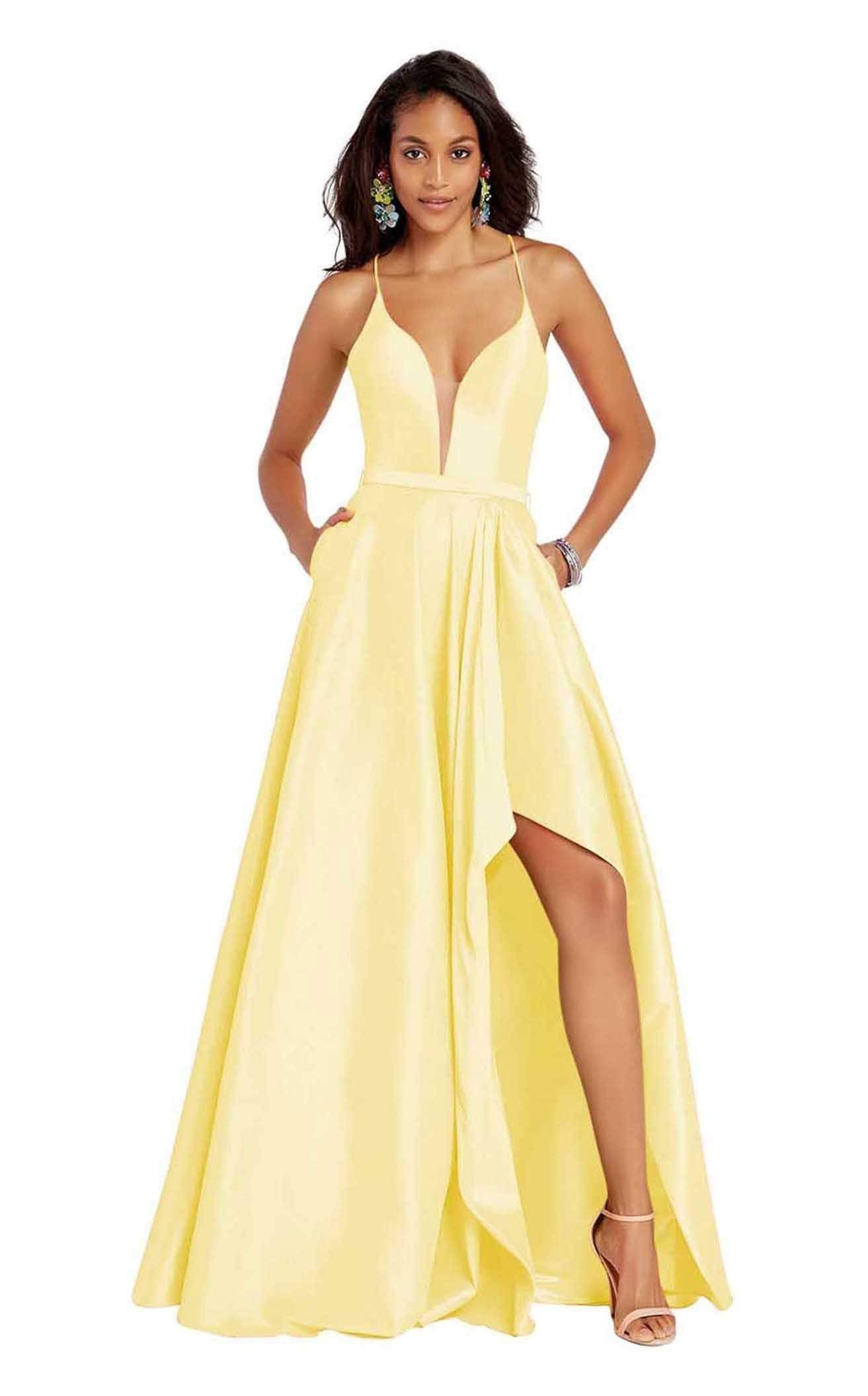 Alyce Paris - 60394 Illusion Plunging Neck High-Low Taffeta Prom Dress Special Occasion Dress 00 / Yellow