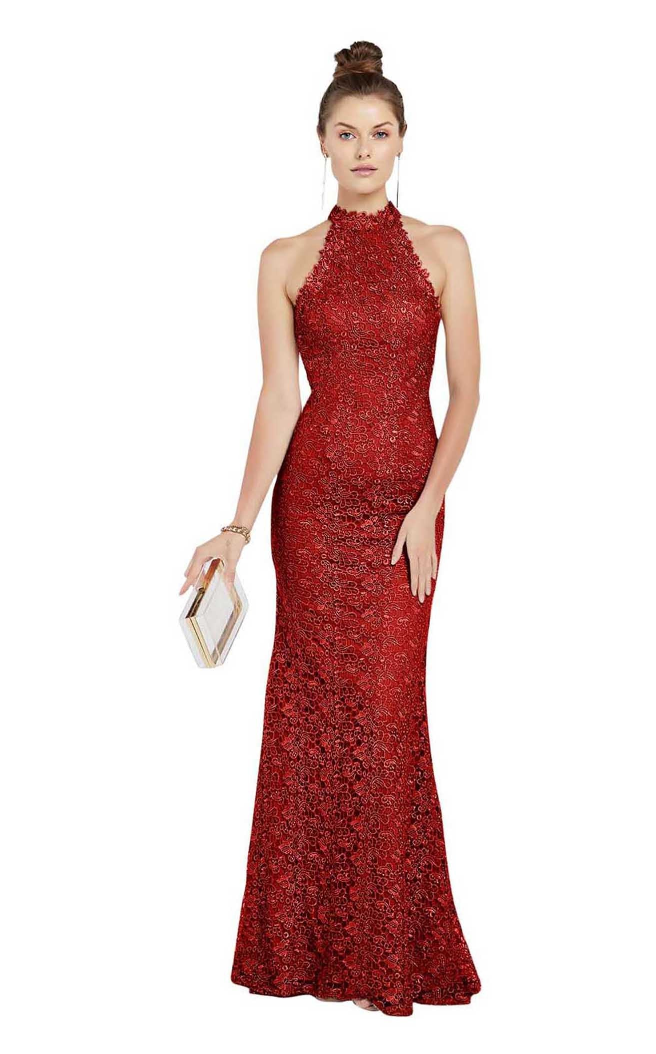 Alyce Paris - High Halter Lace Sheath Dress 60484SC