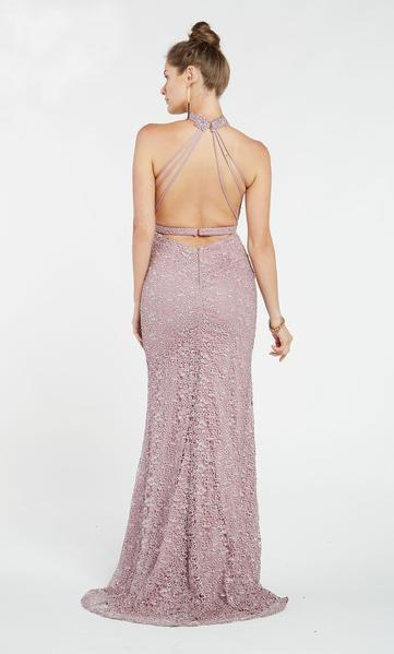 Alyce Paris - 60484 High Halter Fitted Sheath Evening Gown In Purple