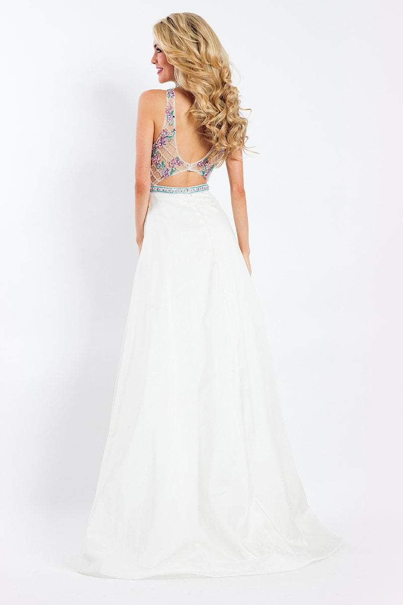 Rachel Allan - 6051 Beaded Sheer High Halter A-line Dress in White