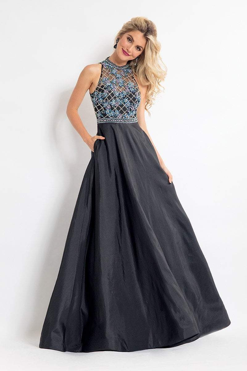 Rachel Allan - 6051 Beaded Sheer High Halter A-line Dress in Black
