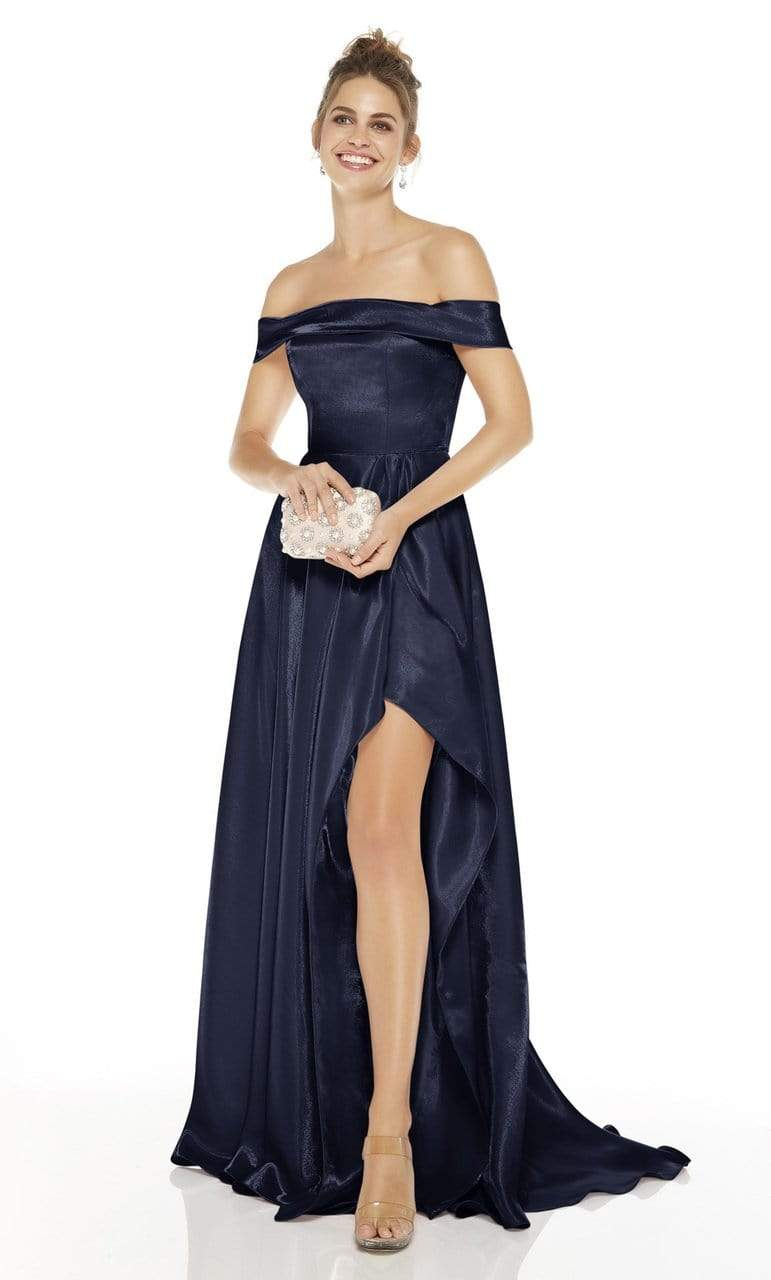Alyce Paris - 60626 Off Shoulder High-Low Satin Gown Evening Dresses 0 / Midnight
