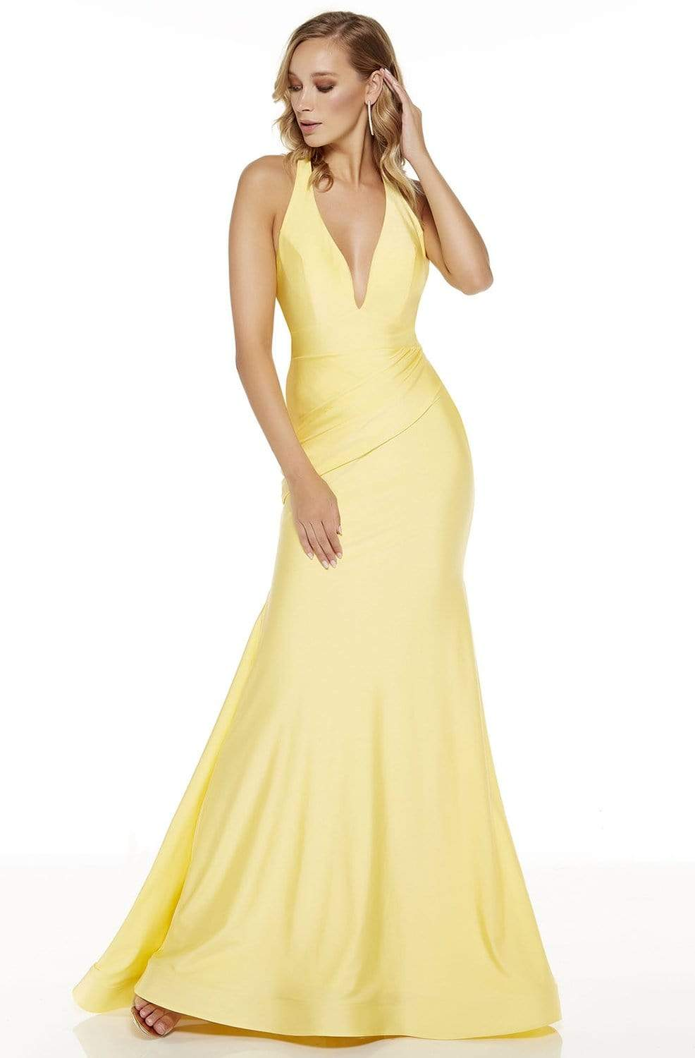 Alyce Paris - 60766 Plain Strappy Back Trumpet Dress Evening Dresses 0 / Yellow