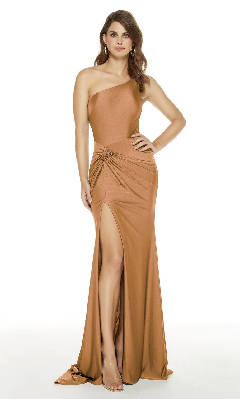 Alyce Paris - 60768 One Shoulder Slinky Stretch High Slit Formal Dress In Neutral and Brown