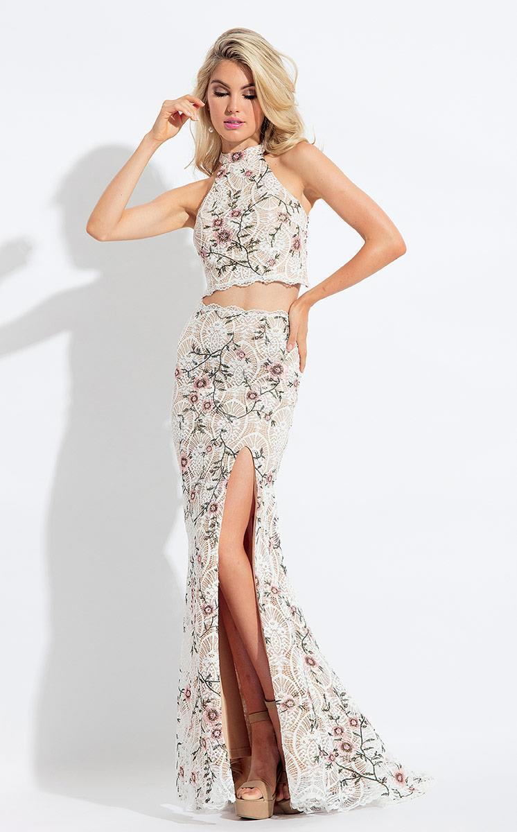 Rachel Allan - 6091 Two Piece Floral Appliqued Dress in White