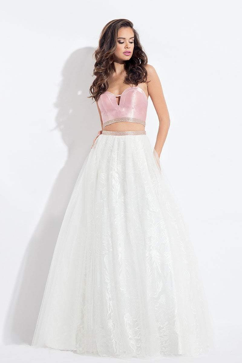 Rachel Allan - 6096 Two-Piece Cutout Bodice Lace Gown in Pink and White