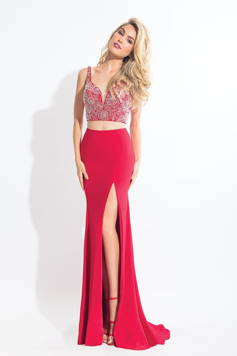 Rachel Allan - 6100 Two-Piece Floral Crystalline Sheath Gown in Red
