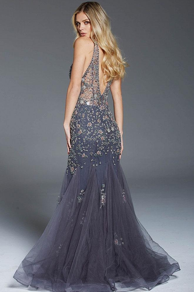 Jovani - 61040 Floral Beaded Deep V-neck Trumpet Gown in Gray