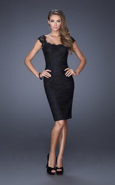 La Femme - Laced Scoop neck Sheath Dress 20481 In Black