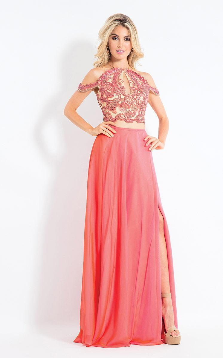 Rachel Allan - 6109 Floral Appliqued Two Piece Gown in Pink