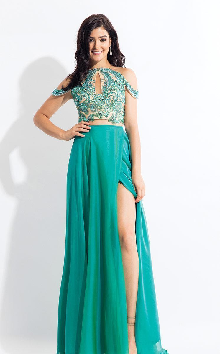 Rachel Allan - 6109 Floral Appliqued Two Piece Gown in Green