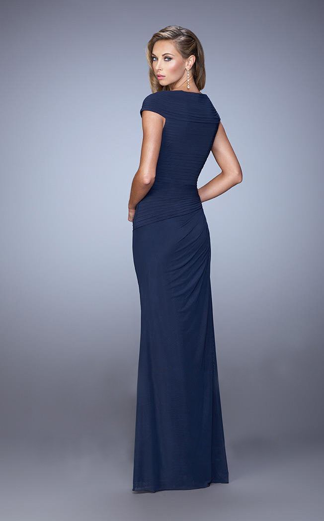 La Femme Ruched Sweetheart Fitted Cap Sleeves Dress 21694 - 1 pc Navy In Size 14 Available in Blue