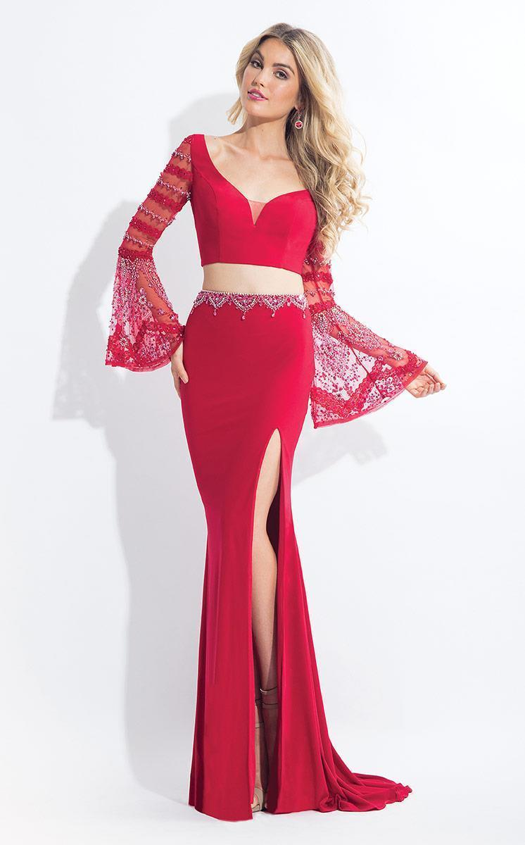 Rachel Allan - 6122 Two Piece Lace Bell Sleeves Dress in Red