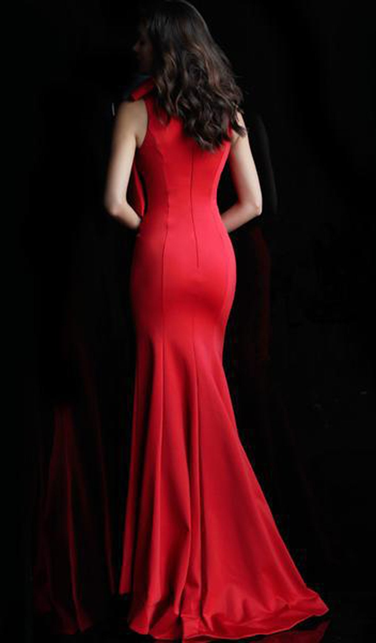 Jovani - 61243 Bow Accented High Neck Trumpet Dress In Red