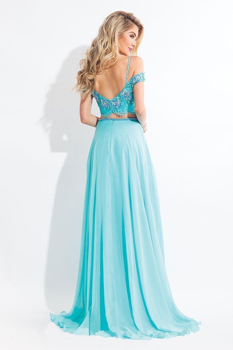 Rachel Allan - 6130 Cap Sleeve Floral Two-Piece Gown in Blue and Green