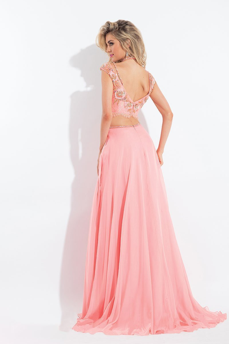Rachel Allan - 6130 Cap Sleeve Floral Two-Piece Gown in Pink and Orange