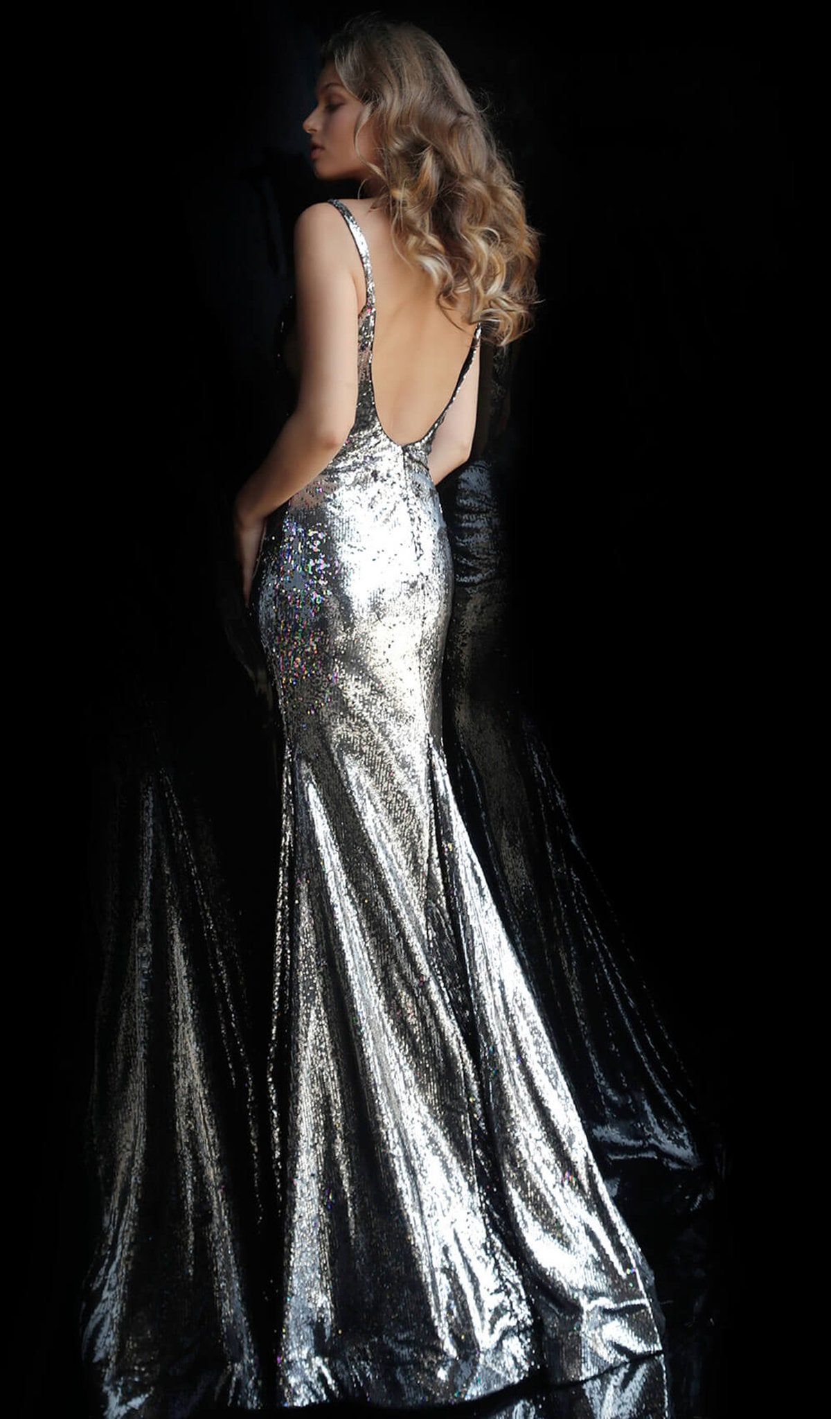 Jovani - 61398 Sequined Deep V-neck Long Trumpet Dress In Silver and Multi-Color