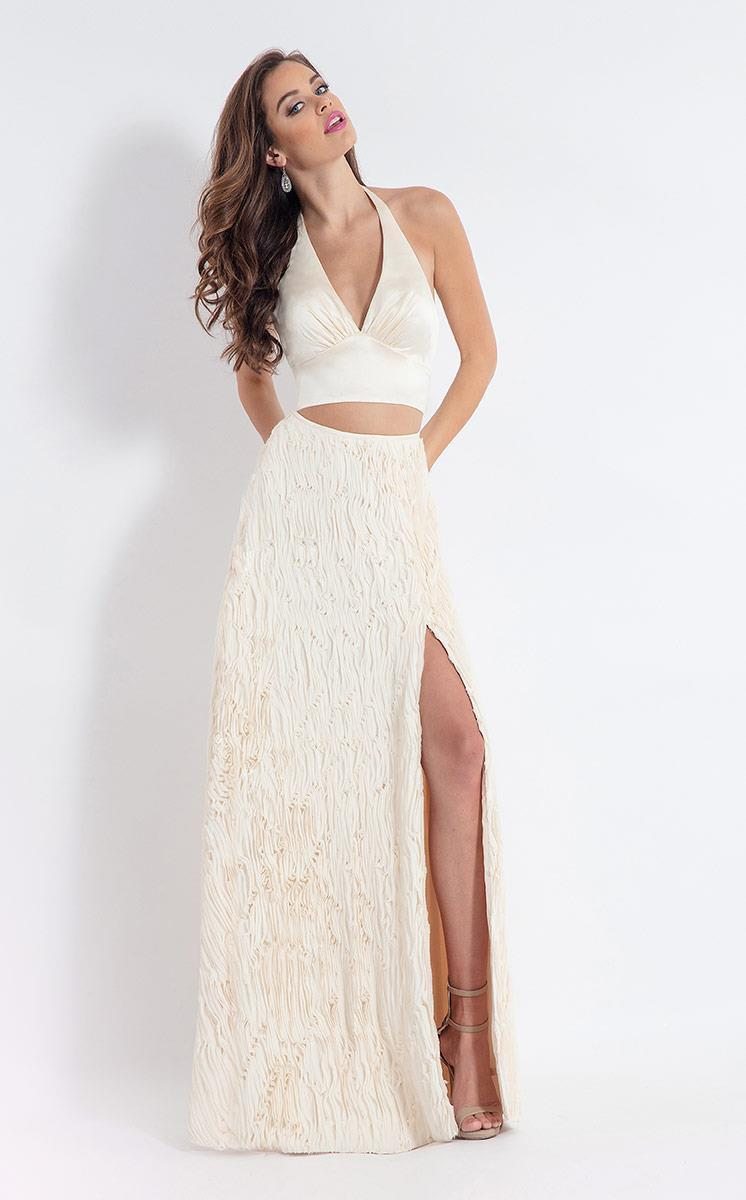 Rachel Allan - 6145 Two Piece Halter Matte Satin/Chiffon Dress in White
