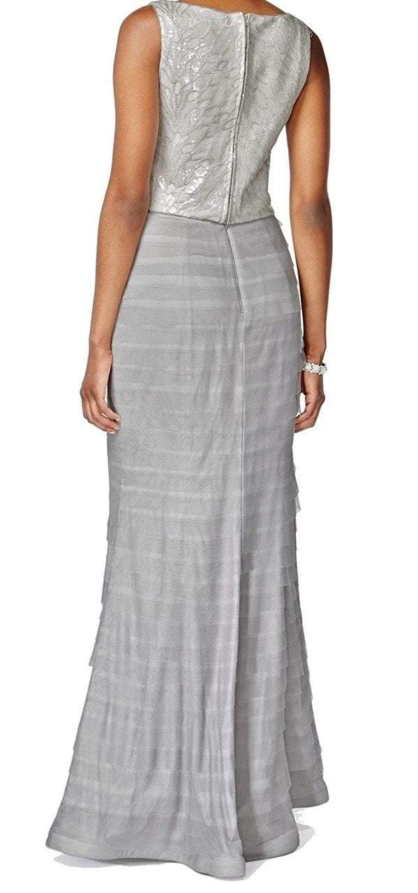 Adrianna Papell - 81928040 Sleeveless Embellished Bateau Sheath Dress in Silver