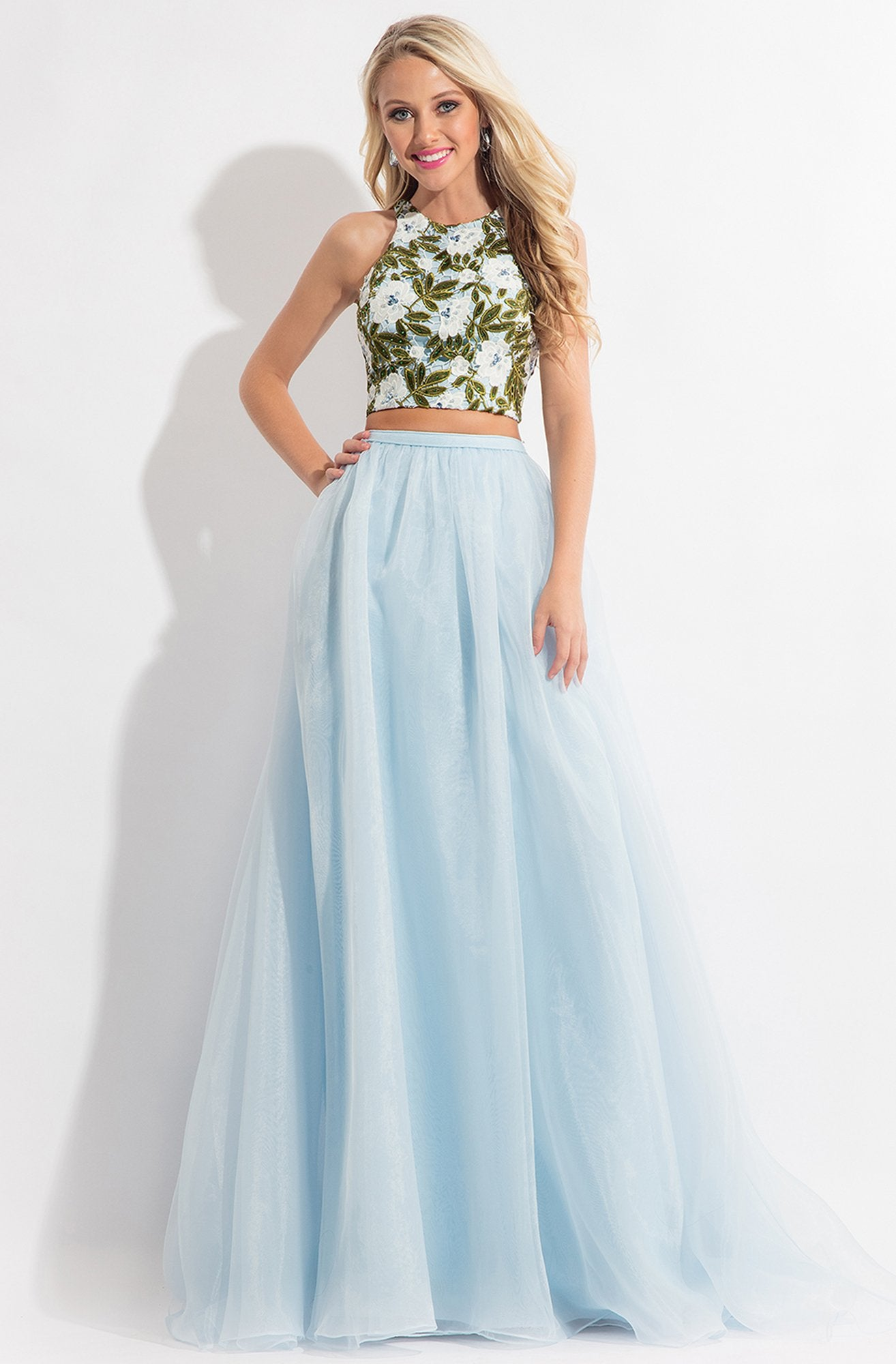 Rachel Allan - 6151 Floral Embroidered Two Piece Halter Gown in Blue