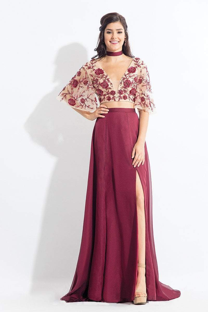 Rachel Allan - 6157 Floral Beaded Kimono Two-Piece Gown in Red