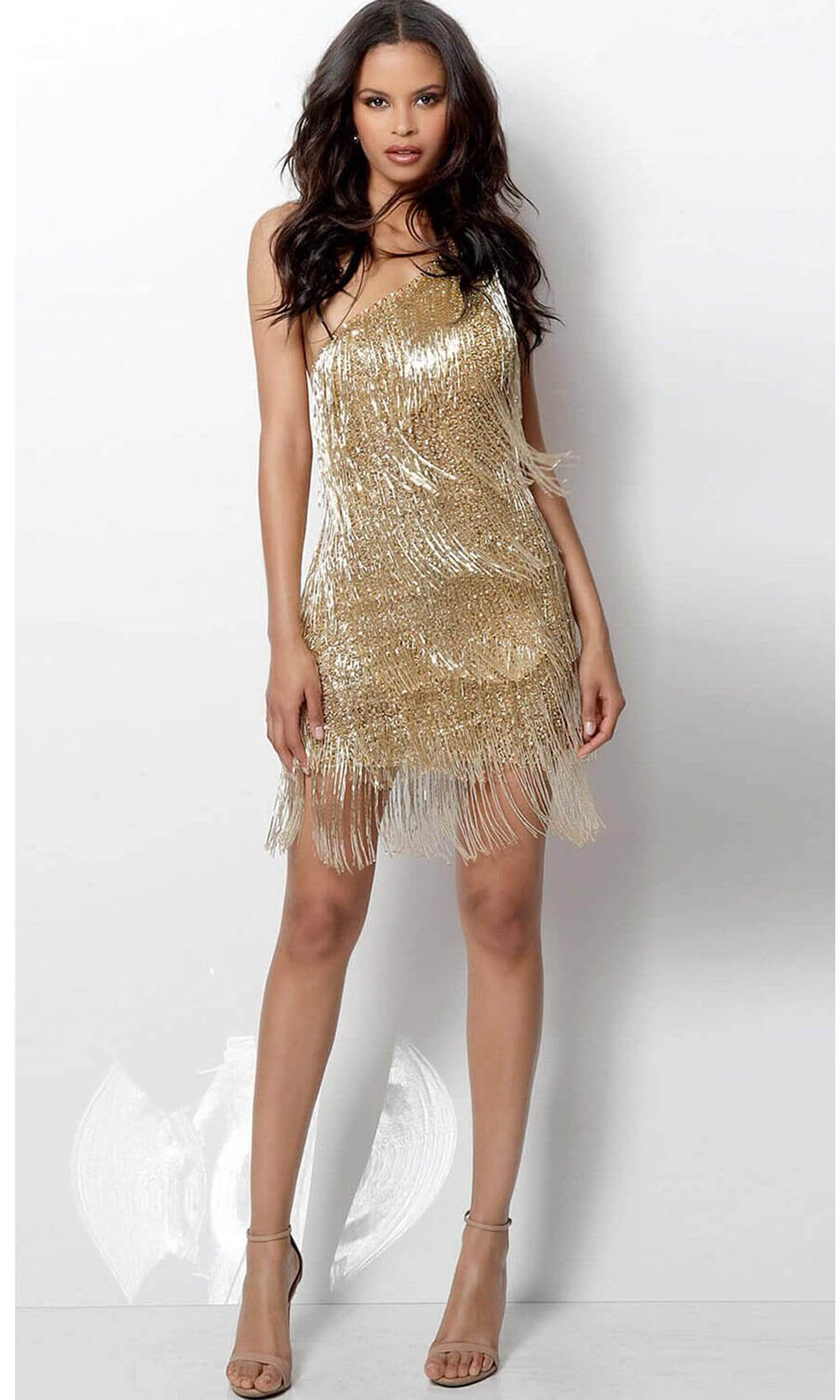 Jovani - 616841 Beaded Fringe One Shoulder Sheath Dress Special Occasion Dress 00 / Gold
