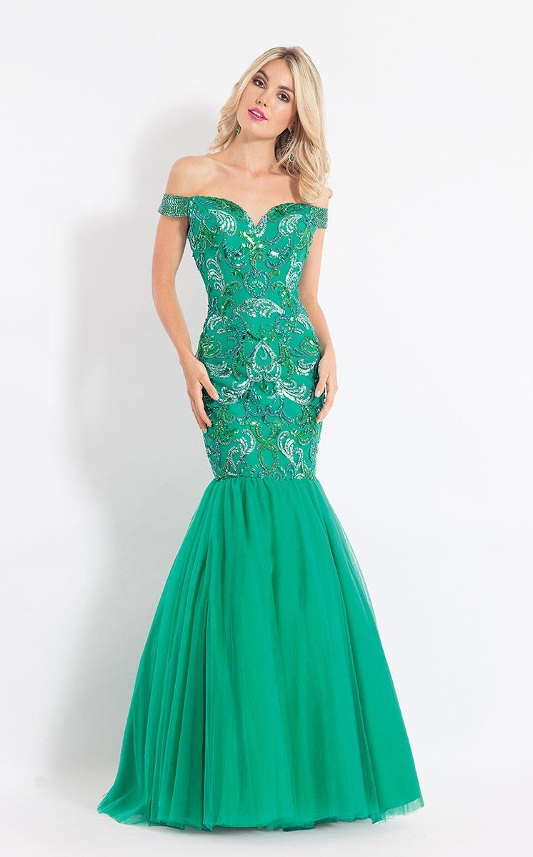 Rachel Allan - 6193 Off Shoulder Embellished Trumpet Gown in Green