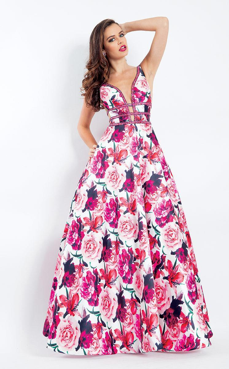 Rachel Allan - 6196 Floral Print Beaded Deep V-neck Ballgown in Pink and Floral