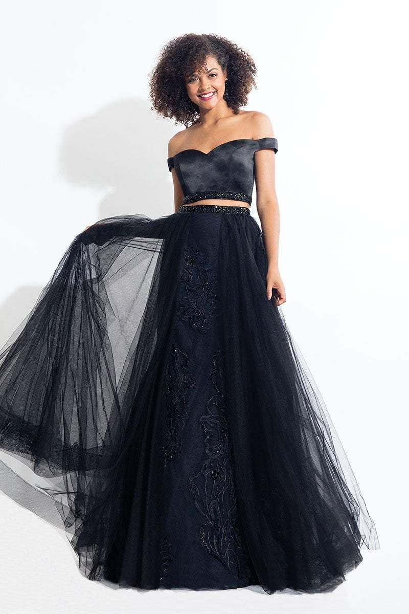 Rachel Allan - 6198 Two-Piece Floral Embroidered Gown in Black