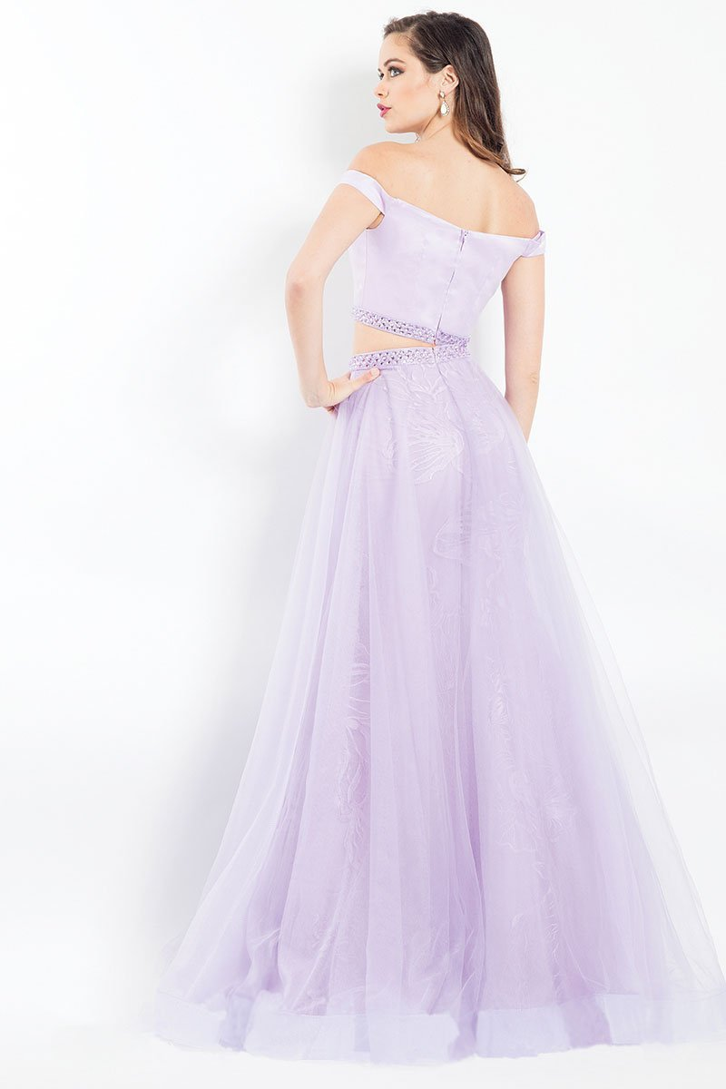 Rachel Allan - 6198 Two-Piece Floral Embroidered Gown in Purple