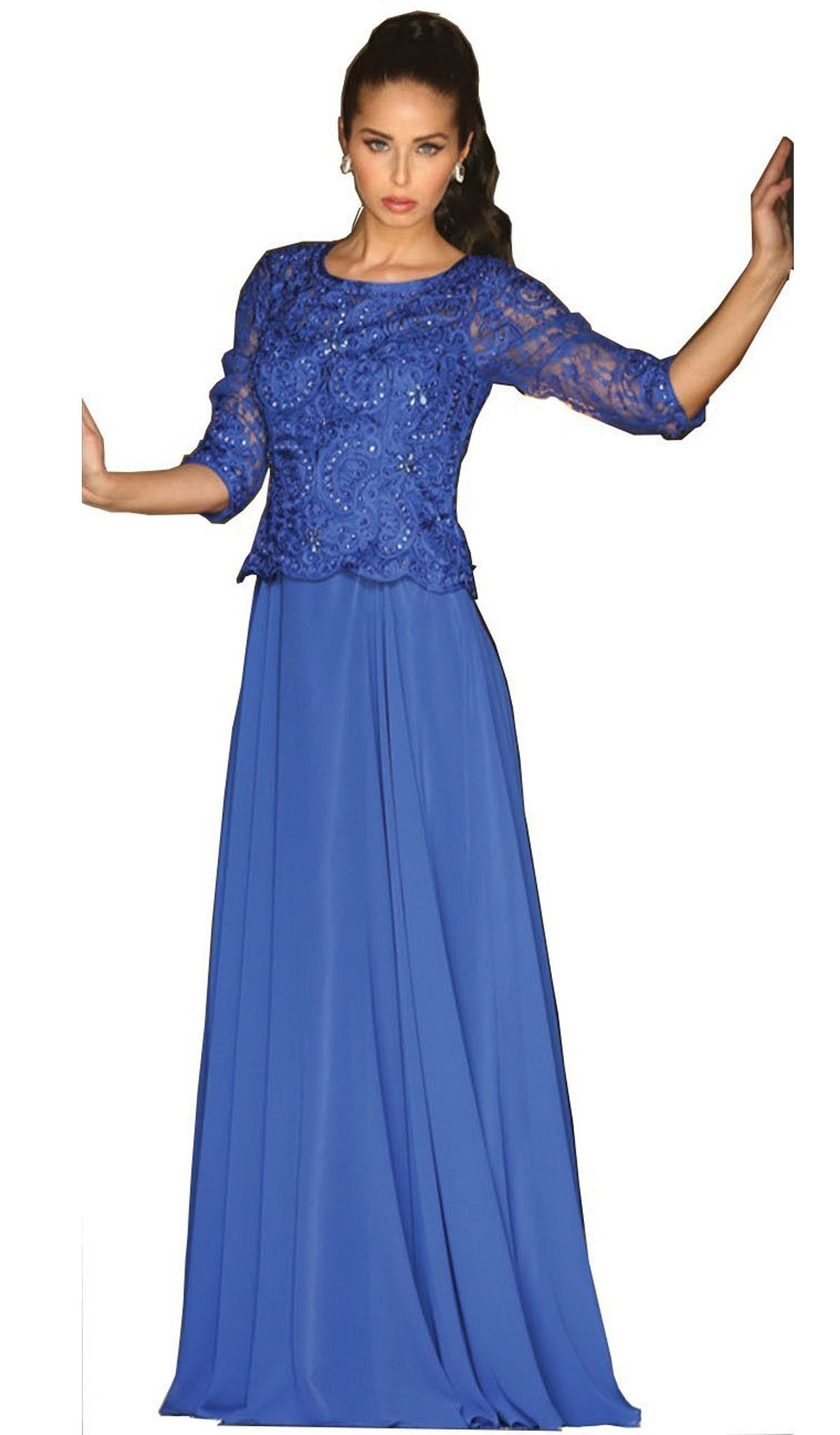 May Queen - Quarter Sleeve Lacy Chiffon Evening Gown