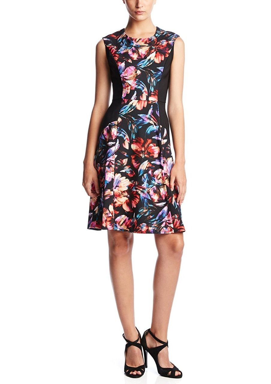 London Times - T1548M Floral Paneled A-Line Dress in Floral and Black