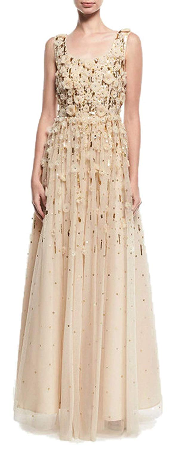 Aidan Mattox - MD1E201850 Floral Applique Scoop A-line Gown In Neutral