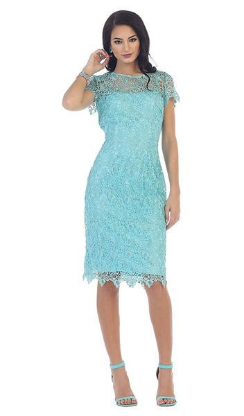 May Queen - MQ1253SC Lace Jewel Neck Fitted Dress
