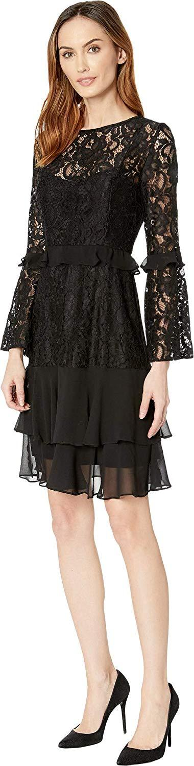 Taylor - 9967M Lace Flounce Sleeves Tiered Cocktail Dress In Black
