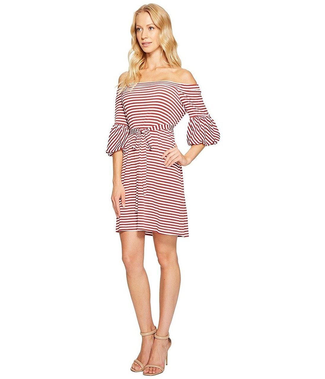 Donna Morgan - D5259M Striped Off Shoulder Bell Sleeve Dress in Red and White