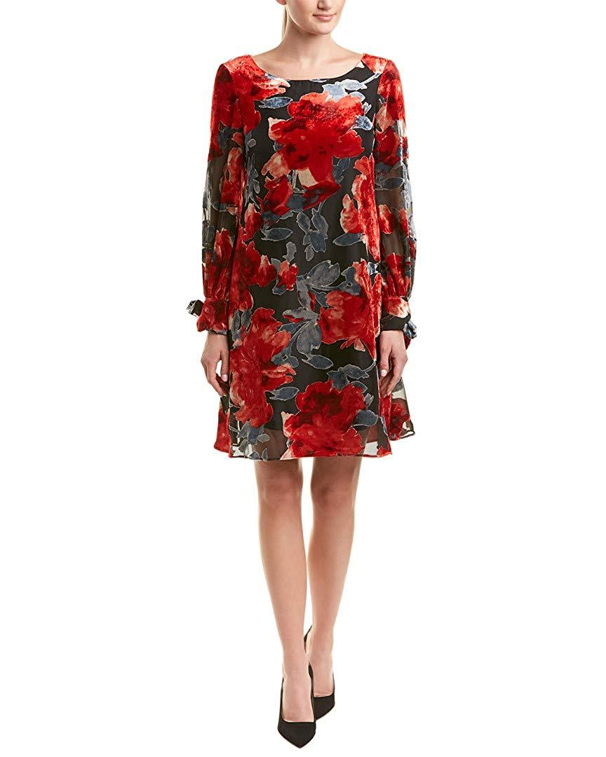 Taylor - 9986M Floral Long Sleeves Cocktail Dress In Red and Gray